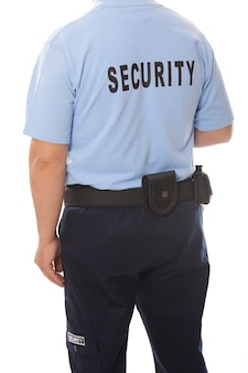 Back of a security guard isolated