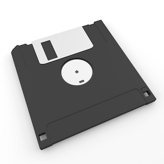 Back side floppy disk on white