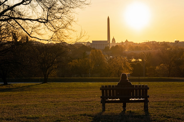 アメリカ合衆国議会議事堂を見ることができるワシントンdcのランドマークの上に一人で座っているアジアの女性の裏側