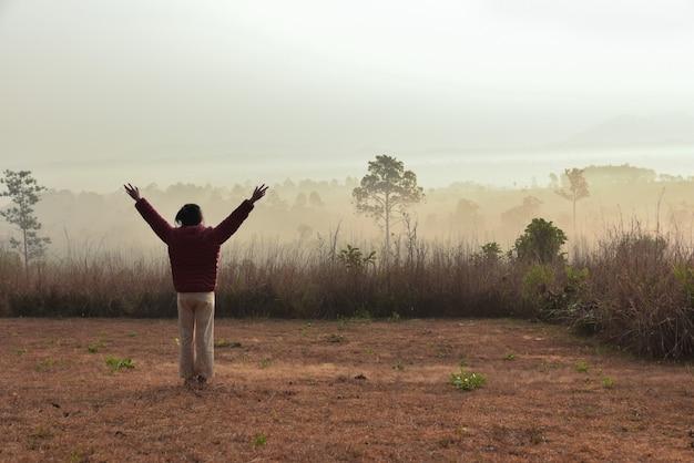 女性の後ろ側は、薄い霧の森で幸せに腕を上げる