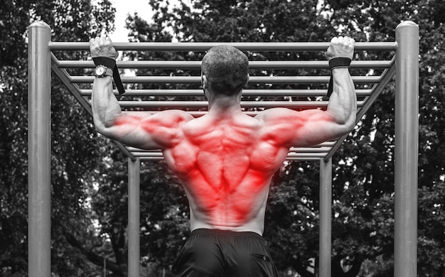Back specialization in bodybuilidng. muscular man doing pull-ups on a horizontal bar.