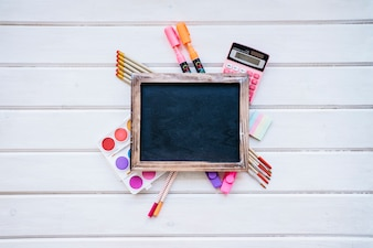 Back to school composition with slate