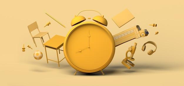 학교 개념으로 돌아가기 부동 교육 개체가 있는 알람 시계 3d 그림 복사 공간