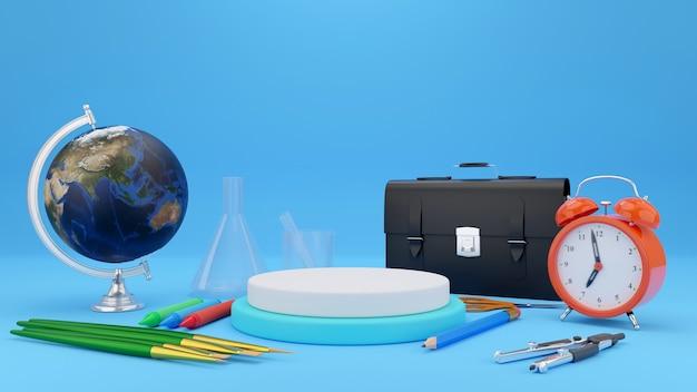 Bule 배경 학교 개념으로 돌아가기 학교 용품 3d 그림