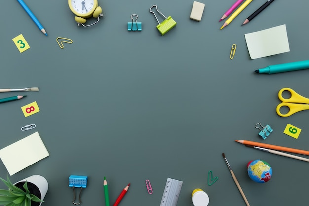 Снова в школу концептуальная квартира лежала с различными объектами канцелярских товаров и копией пространства для текста. концепция ученика начальной и средней школы на зеленом фоне. будильник, ластик, линейка