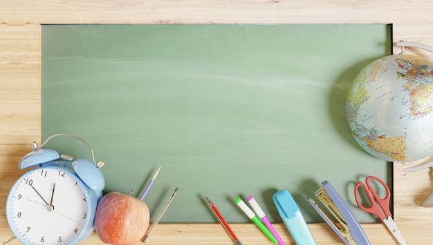 学校に戻るプロモーションの壁紙。 3dレンダリング。