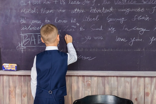 学校に戻る。クラスの小学生。黒板に対する少年。教育と創造性の概念。黒板に書いている男子生徒の背面図。