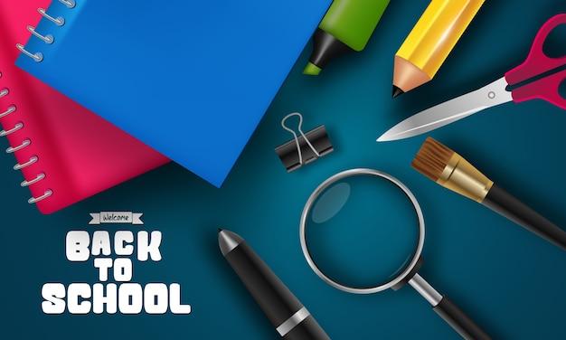 学校のアイテムと要素で学校に戻る