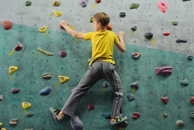 Back view of active schoolboy in sportswear moving upwards along climbing wall while practicing extreme sport