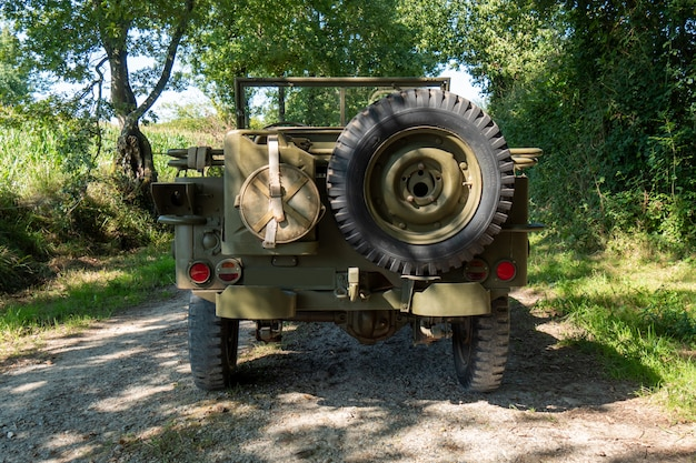 Back view of american military vintage vehicle ww2 time