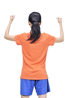 Back view of asian footballer woman with excited expression