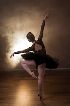 Back view ballerina pose in smoke