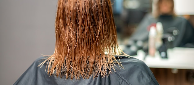 Back view of beautiful wet long red straight hair of young woman in hair salon