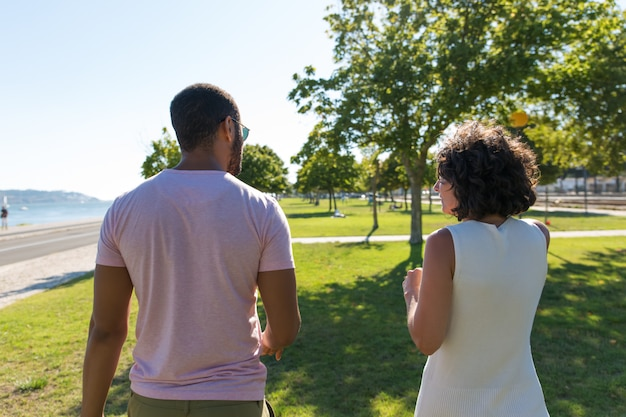 Back view of couple walking in park
