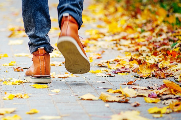 Back view on the feet of a man in brown boots walking along the sidewalk strewn with fallen leaves.