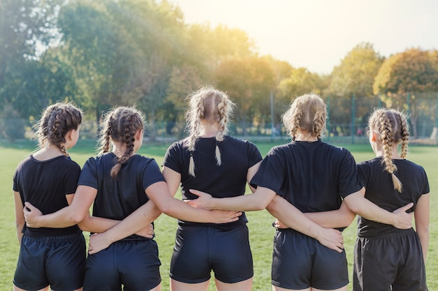 Back view of female rugby team