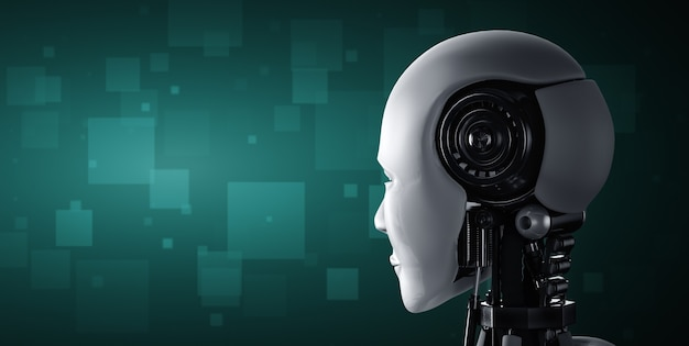 Back view of humanoid ai robot head