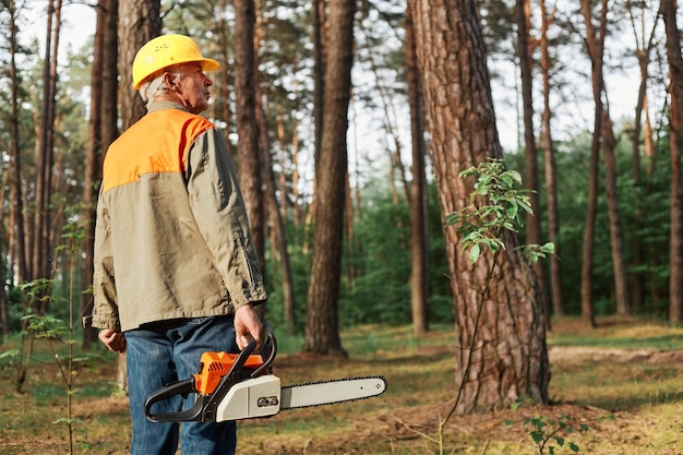 Back view of logger wearing protective helmet and uniform holding chainsaw in hands