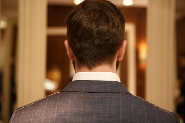 Back view of man in suit
