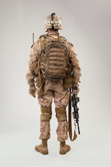 Back view of military soldier us army marines operator