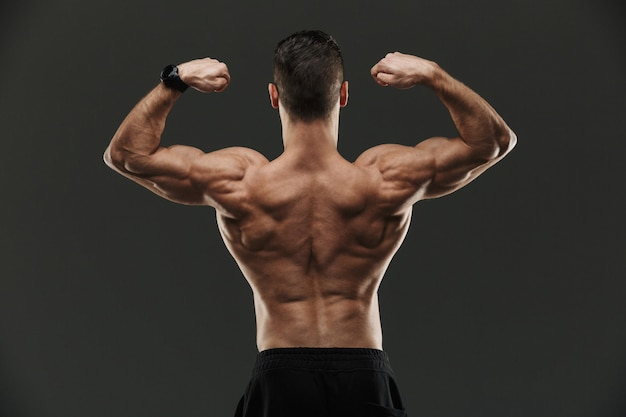 Back view of a muscular bodybuilder flexing biceps
