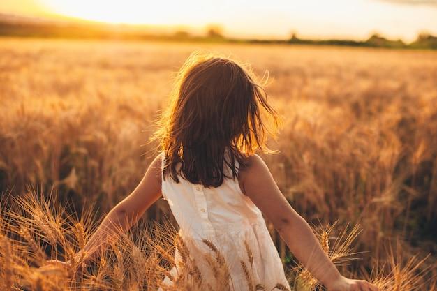 日没に対して手で小麦に触れて小麦畑を歩いている素敵な少女の背面図。