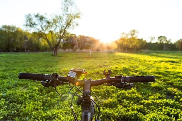 Вид сзади человека с велосипедом на фоне голубого неба