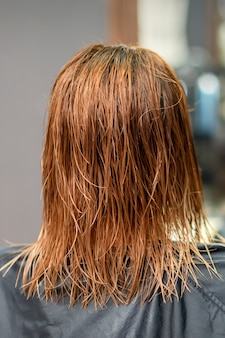 美容院で若い女性の美しい濡れた長い赤いストレートヘアの背面図