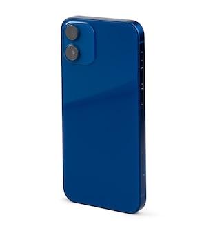 블루 현대 스마트 폰 흰색 절연의 뒷면