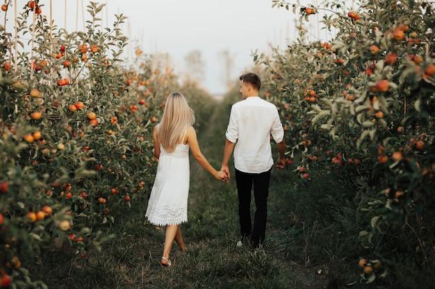 Вид сзади пара гуляет в летнем саду, держась за руки.