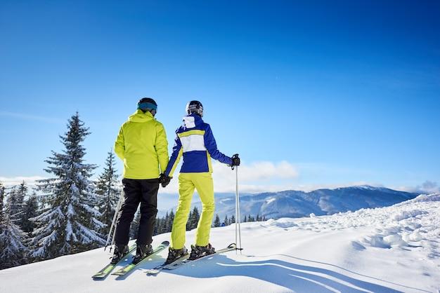 Вид сзади пара лыжников, отдыхающих во время катания на лыжах в солнечный зимний день, наслаждаясь прекрасной красотой природы на горнолыжном курорте