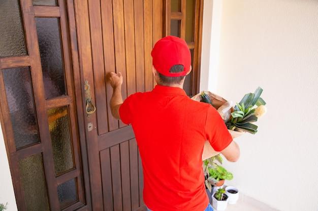택배 문을 노크하고 종이 봉지에 야채를 들고 다시보기. 집에서 특급 주문을 제공하는 빨간 셔츠에 남성 배달원. 음식 배달 서비스 및 온라인 쇼핑 개념