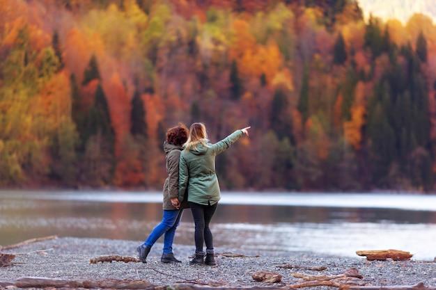 秋の山と湖を見て女の子の背面図