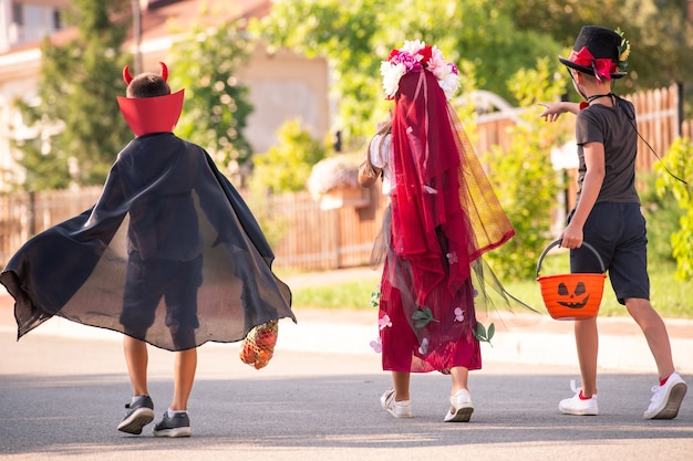 Вид сзади на троих дружелюбных детей в костюмах на хэллоуин, несущих корзины с угощениями, прогуливающихся по загородным домам и просящих сладости