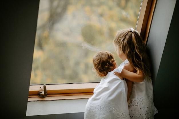 窓の近くに立っている2人の小さな美しい女の子の背面図