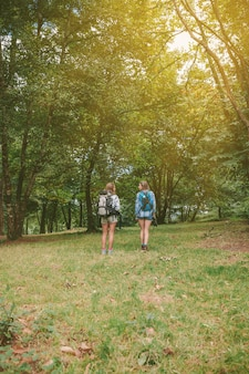 숲 속으로 서 있는 배낭을 메고 있는 두 여자 친구의 뒷모습