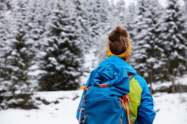 Вид сзади женщины турист стоит на вершине заснеженной горы