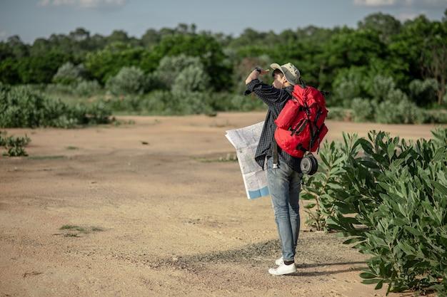 方向を確認するための地図と帽子をかぶっている若いバックパッカー男の背面図、彼は森林試験、コピースペースで夏休みの屋外でリラックスしながら大きなバックパックを運ぶ
