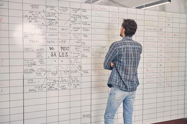 仕事でプランナーボードの情報を見ている市松模様のシャツを着た若い男の背面図