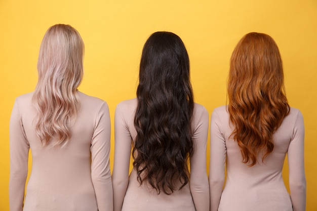 Back view photo of young three ladies