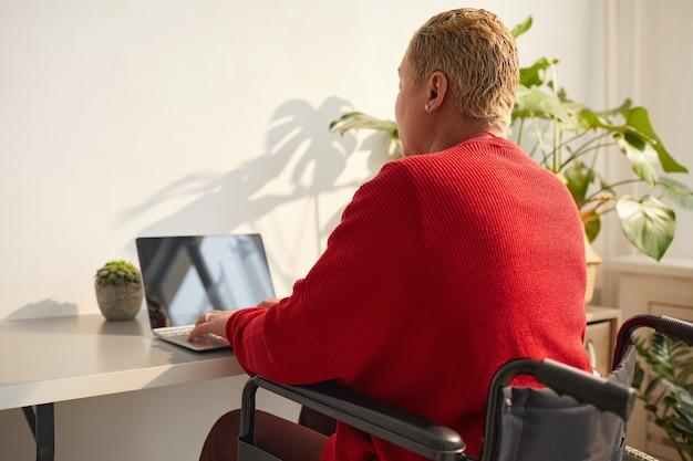 日光に照らされた机、コピースペースで自宅で仕事をしながら車椅子を使用して現代の混血の女性の背面図の肖像画