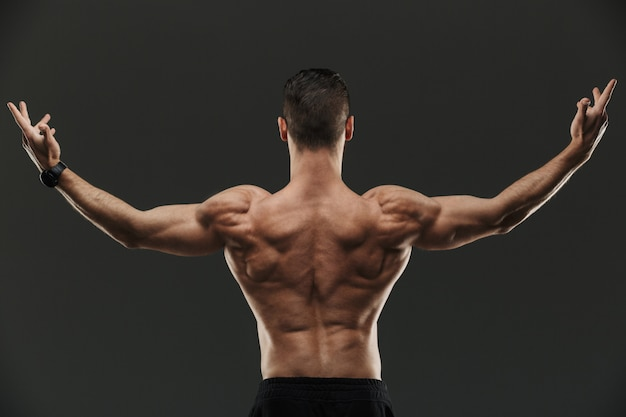 Back view portrait of a young muscular bodybuilder posing
