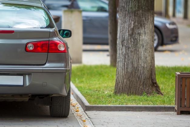 햇볕이 잘 드는 포장 도로에 주차 된 새로운 반짝이 은색 자동차의 후면보기, 정지 조명, 거울 및 트렁크 세부 사항.