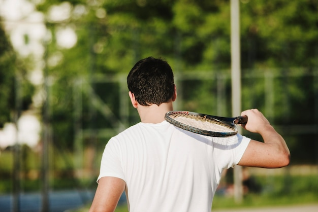 Back view of tennis player