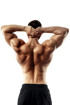 The back view of torso of attractive male body builder on white background.