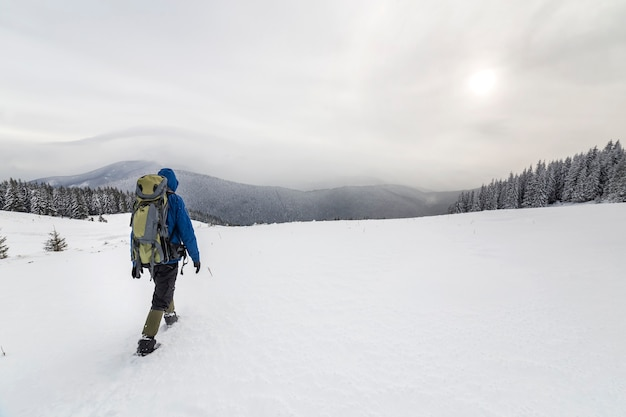 Back view of tourist hiker in warm clothing with backpack walking upward mountains covered with snow on spruce forest