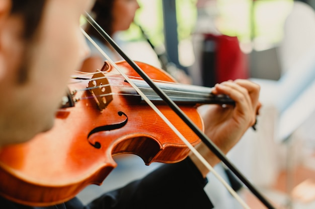 Back view of a violinist performing a piece with his violin
