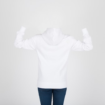 Back view of white hoody