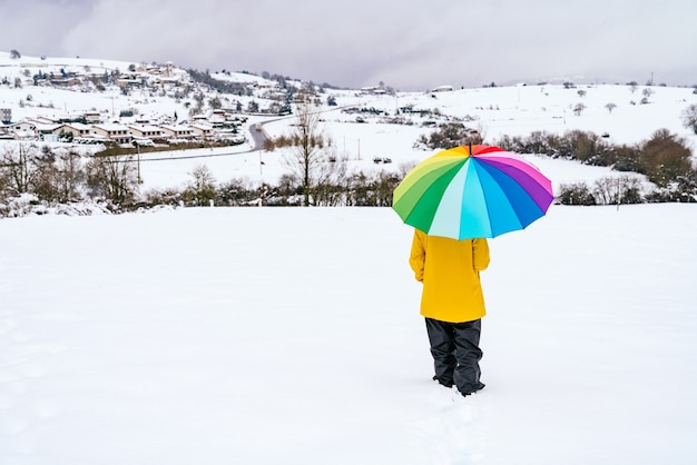 Back view of a woman carrying a rainbow-colored umbrella walking in the snow on a mountain with a beautiful landscape