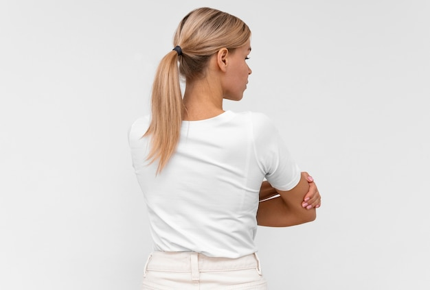 Back view of woman with elbow pain